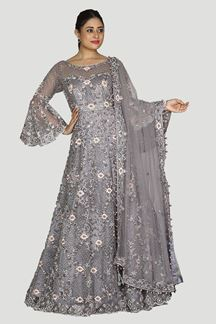 Picture of Lavender Colored Party Wear Netted Bridal Gown