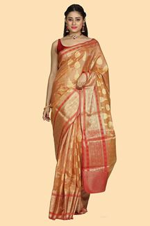 Picture of Beautiful Orange & Maroon Colored Gadwal Silk Saree