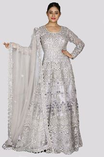 Picture of Innovative mauve Colored Bridal heavy Embroidered Net Gown