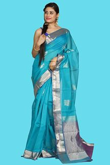 Picture of This Magnetizes Peacock Blue Colored Gadwal Silk Saree