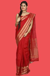 Picture of Hypnotic Maroon Colored Gadwal Silk Saree