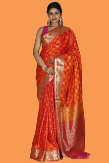 Picture of Elegant Orange-Pink Colored Banarasi Fancy Silk Saree