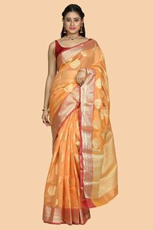 Picture of Orange Color Gadwal Silk Saree