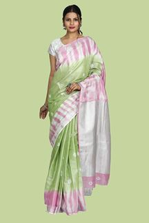 Picture of Ravishing Green & Pink Colored Linen Saree