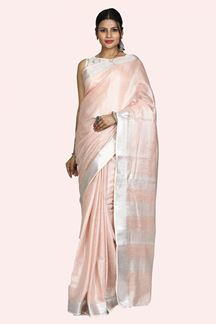 Picture of Classy Peach Colored Linen Saree