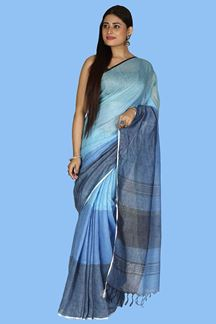 Picture of Mesmeric Blue Colored Casual Wear Linen Saree