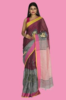 Picture of Capricious Peach & Pink Colored Linen Saree