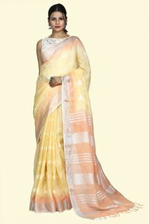 Picture of Engrossing Mustard & Peach Colored Linen Saree