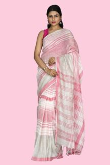 Picture of Ethnic White And Pink Colored Linen Saree
