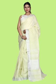 Picture of Blooming Sea Green Colored Festive Wear Linen Saree