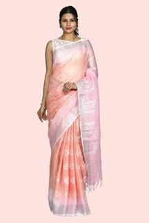 Picture of Exotic Pink & Peach Colored Linen Saree