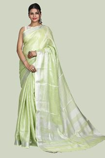 Picture of Jazzy Parrot Green Colored Linen Saree