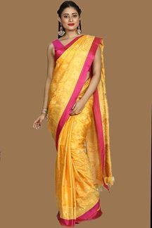 Picture of Exotic Yellow Colored Bangalore Silk Saree