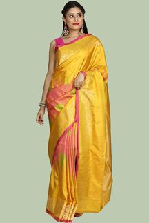 Picture of Yellow And Pink Saree Bangalore Silk Saree