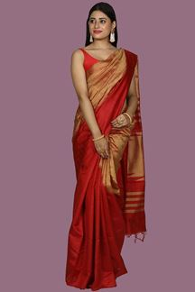 Picture of Entrancing Red Colored Bangalore Silk Saree