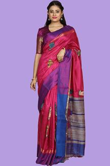 Picture of Groovy Rani & Blue Colored Bangalore Silk Saree