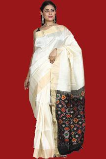 Picture of Blooming cream & Black Colored Bangalore Silk Saree