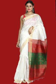 Picture of Eye-catching White- Red Colored Bangalore  Silk Saree