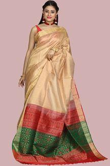 Picture of Exotic Drak Foam & Red Colored Bangalore Silk Saree