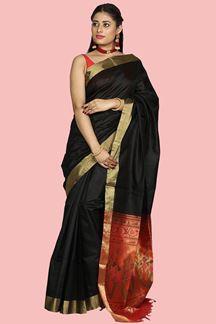 Picture of Desirable Black & Red Colored Bangalore Silk Saree