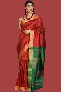 Picture of Dazzling Maroon-Green Colored Bangalore Silk Saree