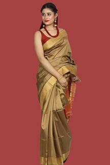 Picture of Excellent Tan-Maroon Colored Bangalore Silk Saree