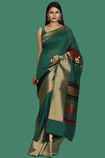 Picture of Pleasance Bottle Green-Maroon Colored Art Silk Saree