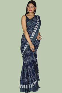 Picture of Hypnotic Navy Blue Colored Gadwal Cotton Saree