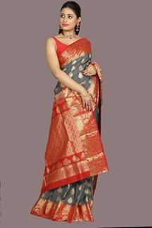 Picture of Blooming Grey & Red Colored kanjivaram Silk saree