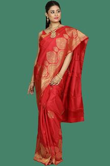 Picture of Engrossing Red Colored Colored Kanjivaram Silk Saree