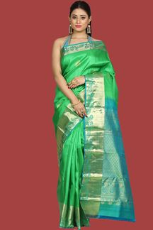 Picture of Beautiful Green Colored Kanjivaram Silk Saree