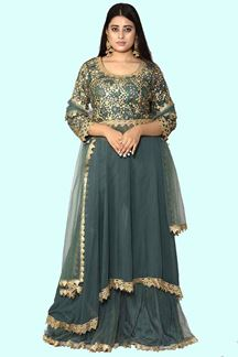 Picture of Elegant Olive Green Gharara Suit