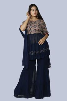 Picture of Blue Colored Peplum Style Gharara Style Suit