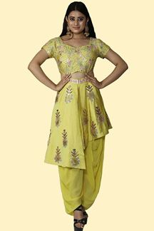Picture of Parrot Green Colored Fancy Dhoti Style Jump Suit