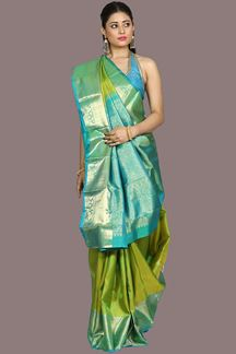 Picture of Delightful Parrot Green Colored Kanjivaram Silk Saree