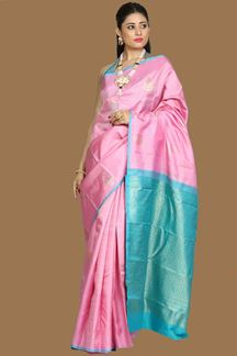 Picture of Pleasant Baby Pink –Blue Colored Kanjivaram Silk Saree