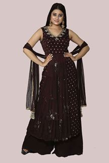 Picture of Beautiful Brown Color Georgette Palazzo Suit