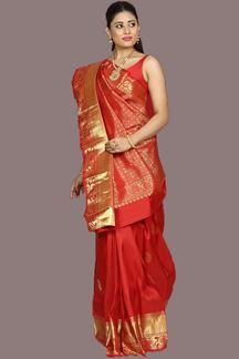 Picture of Pleasant Red Colored Kanjivaram Silk Saree