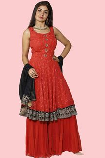 Picture of Red & Navy Blue Georgette Embroidered GhararaSuit