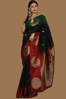 Picture of Black & Red Colored kanjivaram Silk Saree