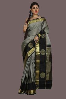 Picture of Kanjivaram Silk Grey- Black Weaving Saree