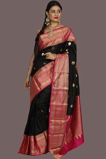 Picture of Traditional Black-Rani Pink Colored Kanjivaram Silk Saree