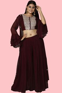 Picture of Dark Maroon Georgette Jacket Style Palazzo Suit
