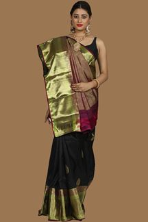 Picture of Trendy Black-Magenta Colored Kanjivarama Silk Saree