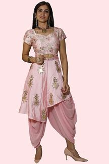 Picture of Baby Pink Colored Fancy Dhoti Style Jump Suit