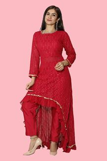 Picture of Stylish Rani Pink Trail cut Suit