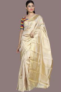 Picture of Energetic Beige Colored Kanjivaram Silk Saree
