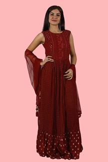 Picture of Maroon Colored Lucknowi Palazzo Suit.