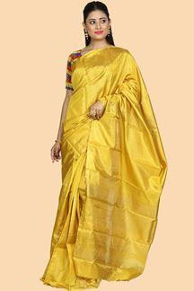 Picture of Energetic Mustard Yellow Colored Kanjivaram Silk Saree