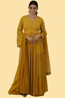 Picture of Mustard Yellow Color Palazzo Suit With Dupatta